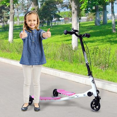 HomCom® Patinete Scooter de 3 Ruedas Plegable Scooter de Reductor Rosa