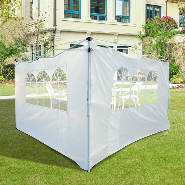 Outsunny® 2 Paredes Laterales con Ventanas para Carpa Color Blanco Oxford 3x2m (Alto x Largo) | Aosom ES
