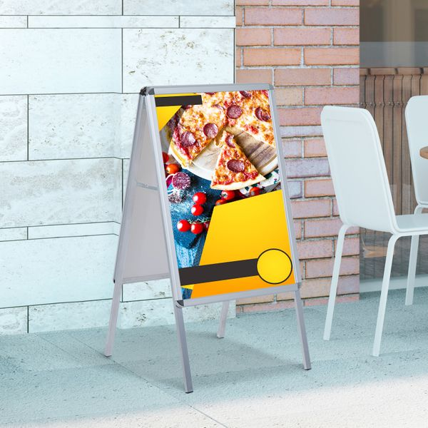 HomCom® Panel Publicitario de Doble Cara DIN A1 Valla Publicitaria para Folletos Oficina Marketing Color Blanco Aluminio y PVC 64x8x121cm | Aosom ES