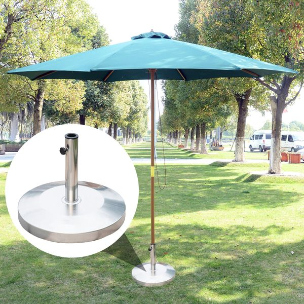 Outsunny® Base Sombrilla Acero Inoxidable Soporte Pie para Parasol Φ48 x 36cm Jardín Patio Color Plateado| Aosom ES