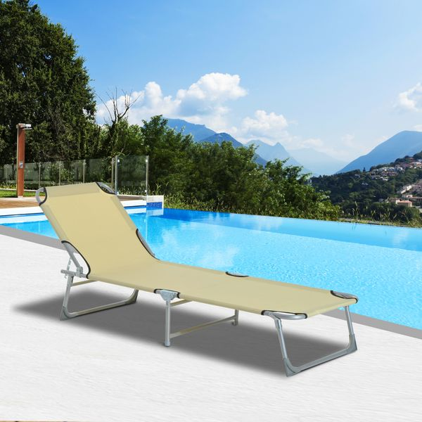 Tumbona Plegable e inclinable para Playa o Piscina – Color Beige – Material Hierro y Oxford – 187 x 58 x 30cm |Aosom