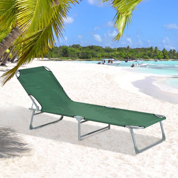 Tumbona Plegable e inclinable para Playa o Piscina – Color Verde – Material Hierro y Oxford – 187 x 58 x 30cm |Aosom
